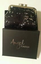 Victorias Secret NEW Black Silver Sequined Change Coin Purse Clutch Bling