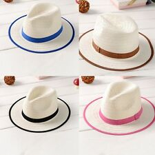 Trendy New Summer Kids Boys Girls Fedora Straw Brim Sun Hat Jazz Hat Beach Caps