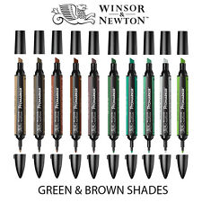 Winsor & Newton ProMarker Twin Tip Graphic Marker Pen - GREEN & BROWN Colours