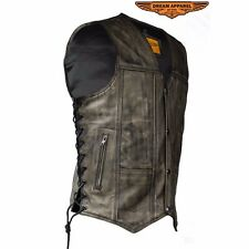 Men's Distressed Brown Leather Motorcycle Vest With 10 Pockets Cowhide Leather