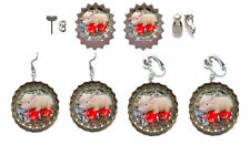 ADORABLE PIG BOTTLE CAP PIERCED or CLIP ON EARRINGS - 4 CHOICES