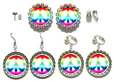 COLORFUL PEACE SIGN BOTTLE CAP PIERCED or CLIP ON EARRINGS - 4 CHOICES