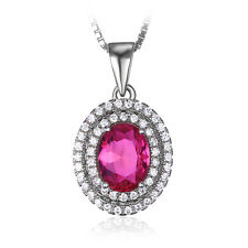 Wonen's Fashion Pink Sapphire Pendant Necklace Chain Solid 925 Sterling Silver