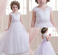 Lace Tulle Flower Girl Dress Wedding Easter Junior Bridesmaid Baptism Baby A11