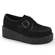 Demonia CREEPER-118 Black Platform Monk D Shaped Buckle Casual Oxford Shoes