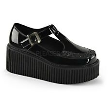 Demonia CREEPER-214 Black Platform T-Strap Mary Jane Side Cutout Buckle Shoes