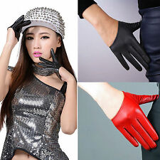 Sexy Women's Faux Leather Half Five Finger Half Palm Warm Party Gloves Mittens