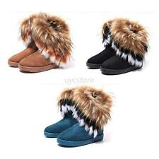 Lady Winter Warm High Long Snow Boots Artificial Suede Faux Fox Fur Tassel Shoes