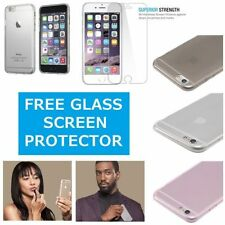 Clear Silicone Slim Gel Case and Glass Screen Protector for iPhone 6S & 6