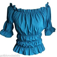 Blue Turquoise Gypsy Pilgrim Peasant Medieval Pirate Colonial Blouse Shirt Top