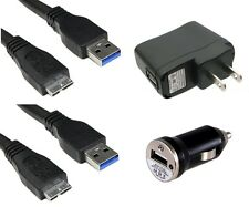 USB DATA SYNC CABLE CORD CAR AND WALL CHARGER FOR SAMSUNG NOTE 3 GALAXY S5