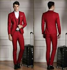 Casual Red 2016 Groom Tuxedos Business Cheap Groomsman Best Man Suit Formal Gown