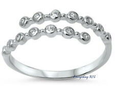 Sterling Silver 925 ADJUSTABLE CLEAR CZ WRAP DESIGN 7MM SILVER RING SIZES 4-10