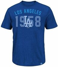 Los Angeles Dodgers Majestic 3 Base Hit Mens Royal Blue Shirt Big & Tall Sizes
