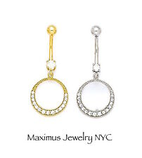 14K Solid Gold Round Circle Cz Belly Button Navel Dangle Body Piercing Jewelry