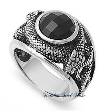 STAINLESS STEEL 316L SNAKE DESIGN WITH BLACK ONYX STONE RING 13MM SIZES 7-15