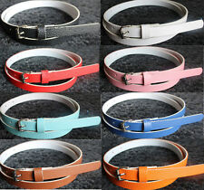 8 Colors  Fashion  Women Lady  Faux Leather Thin Skinny Waist Belt Buckle