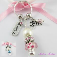 European Bead Beautiful Special Sister Charm Keychain Key Ring Select Colour