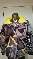 New Quiksilver DryFlight 10K Ski Snow rain waterproof hooded Print Jacket coat