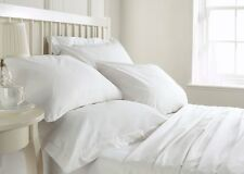 Super Soft 800 1000 1200 1500 TC White Solid Bedding Sets 100 % Cotton All Sizes