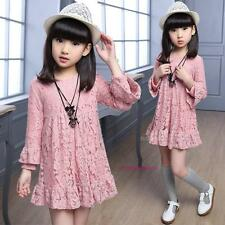 New 2016 Spring Summer Kids Young Girls Princess Lace Long Sleeve Dress 5-14Y