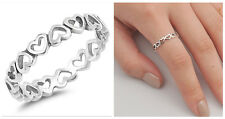 Sterling Silver 925 ETERNITY HEARTS SILVER DESIGN PROMISE RING 4MM SIZES 4-10