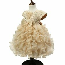 Girls Bouffant Flower Dresses Tulle Princess Pageant Wedding Dress Champagne