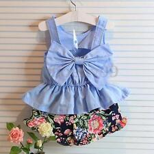 Summer Baby Girls Kids Casual Outfits Clothes Bow Vest T-shirt Tops +Short Pants