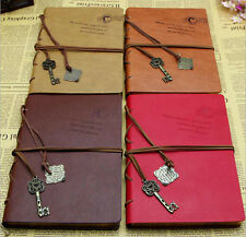 Vintage Retro Key Pendant String PU Leather Notebook Blank Diary Planner Journal