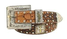 Nocona Western Womens Belt Leather Croc Studded Cross Concho 3pcs Brown A1522202