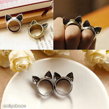Unisex 2 Colors Retro Cute Cat-shaped Kawaii x Ears Finger Ring Silver/Bronze