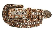Nocona Western Womens Belt Leather Croc Copper Studded Siver N3497336