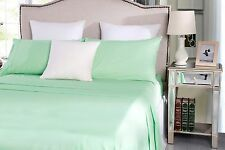 250TC Poly Cotton Sheet Set Mint QB KB DB KSB SB Fitted Flat Pillowcase Percale