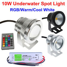 10W IP68 LED Underwater Spot Light RGB Cool Warm Garden Pond Lamp + 12V Adapter