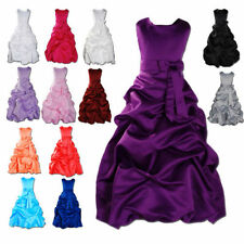 New Taffeta Flower Girl Dress Wedding Easter Junior Bridesmaid Kids party Dress