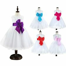 Girls Princess Pretty Flower Bowknot Beads Dresses Bridesmaid Party Wedding Gown
