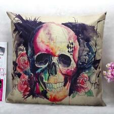 Skull Linen Cotton Throw Pillow Case Sofa Home Decor Cushion Cover Pillowcase