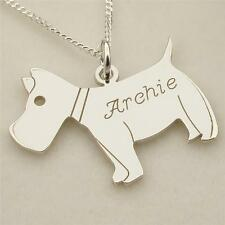 925 Solid Sterling Silver Personalised Scottie Dog Necklace with Chain
