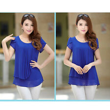 Women Chiffon Short Sleeve Pleated Crew Neck Wear to Work Shirt Loose Blouse Top