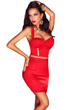 Red Cupped Rhinestone Detail Vertical Strappy Back Dress LC22564 bodycon women