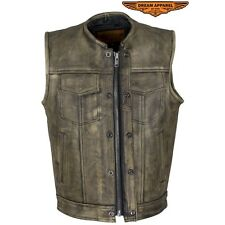Mens Club Vest Distressed Brown Leather Motorcycle Biker SOA Style New Wit Tag