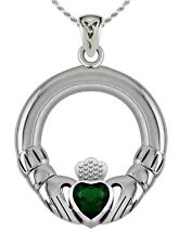 New 0.925 Sterling Silver Irish Celtic Claddagh Pendant Necklace w/ Syn Emerald