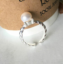 Brand New 925 Sterling Silver Cultured Freshwater Genuine Pearl Open Ring