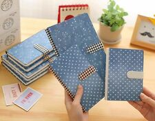 Blue Flower Buckle Hard Cover Notebook Ruled Diary Journal Planner Memo NotePad