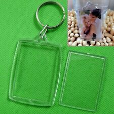 5/10X Clear Acrylic Blank Photo Picture Frame Key Ring Keychain Keyring