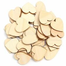 50 Wooden Wood Love Heart Pieces Unfinished Kids DIY Painting Scrapbooking Craft