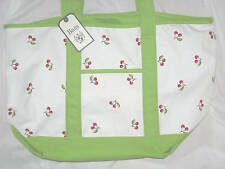 Bass Green White Red Cherries Canvas Large Tote Bag Purse Pocketbook NWT Beach