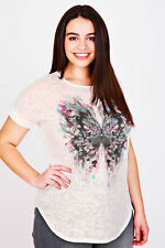 Plus White Butterfly Foil Print Burn Out Detail T-shirt 14-36