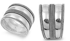 Sterling Silver 925 HANDMADE BALI RING WITH BRAIDED ROPE DESIGN 16MM SIZES 5-12