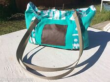 Purse Tote Bag Handmade Sea Foam Green & Brown Leather Bottom